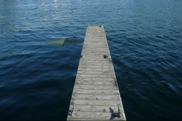 A wooden dock in Alexandria Bay, NY